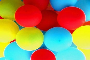 Red, blue and yellow balloons.