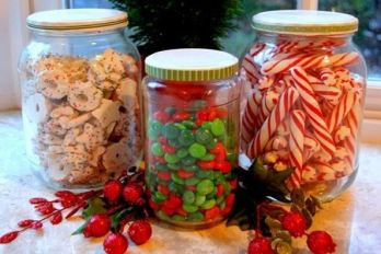 Christmas candy in jars.