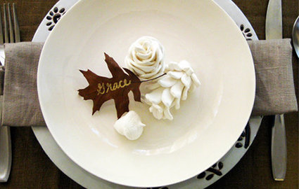 place card, autumn, pinecone, leaves