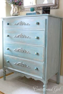 Turquoise glaze on an old dresser.