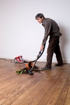 vacuuming soil