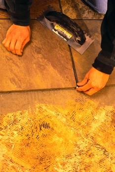 v-notched trowel, laying tile