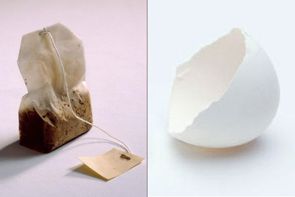 tea bag, egg shell
