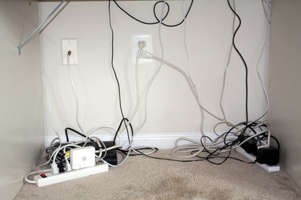 messy cables and wires