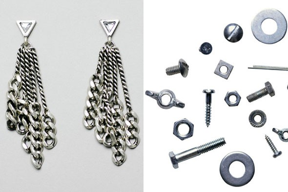 earrings, nuts, bolts, washers
