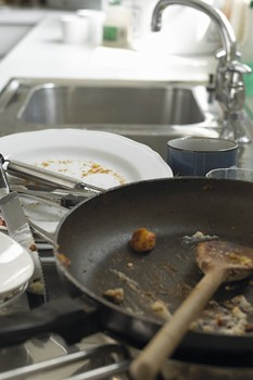 dishcloths, dirty dishes, disinfect your kitchen