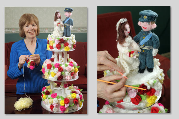 Old Lady Knitting Cake Topper : Bizarre diy of the week a knitted royal wedding cake