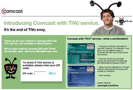 Comcast TiVo in New England market now, maybe later elsewhere