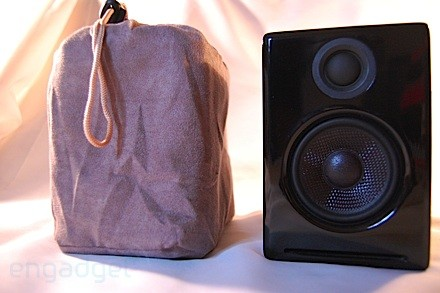 Audioengine A2s in the bag