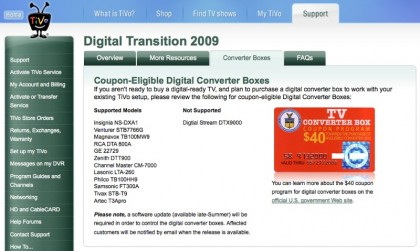 TiVo Digital transition page