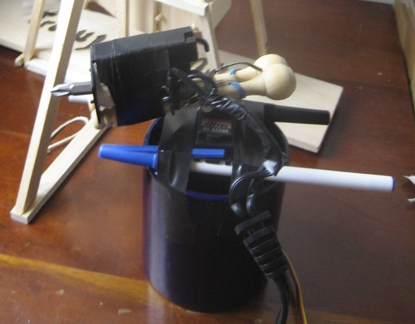 Wiimote + pens + coffee cup + office putting toy = deadly coil gun turret