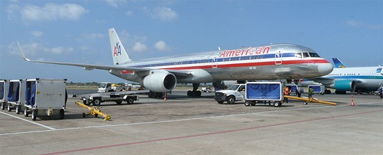American Airlines in taxi area