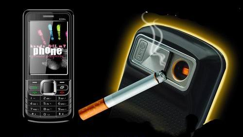 Cigarette lighter phone could light up your death sticks, life