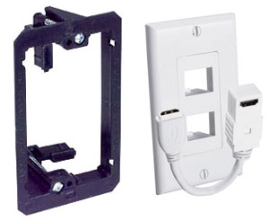 Retro fit low-volage bracket and HDMI wall plate