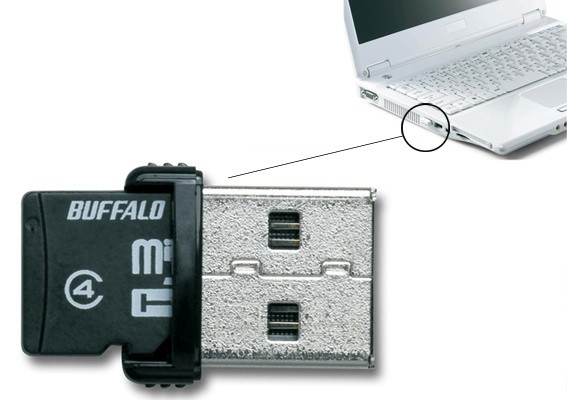 Buffalo microSD USB card reader 16GB 2-in-1