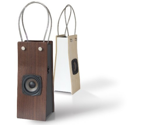 Yoshihiko Satoh's Wooden iPod speaker bags are definitely re-usable, possibly biodegradeable, totally chic