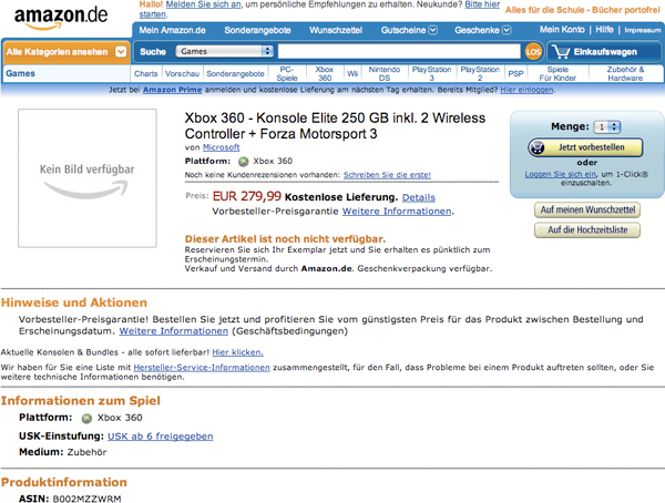 Amazon Germany shows 250GB Xbox 360 Elite.