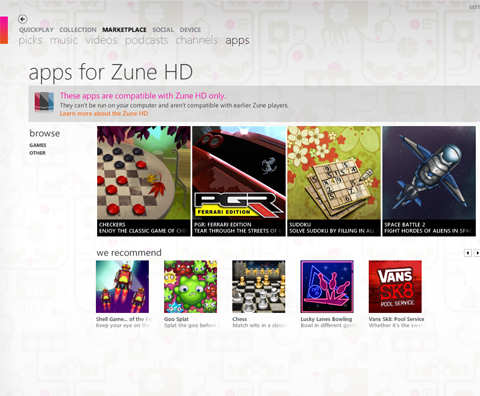 zune hd marketplace
