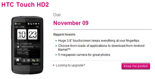 T-Mobile nabs HTC's Touch HD2, schedules release for November 9