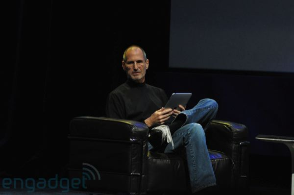 Steve Jobs demoing the iPad in comfort