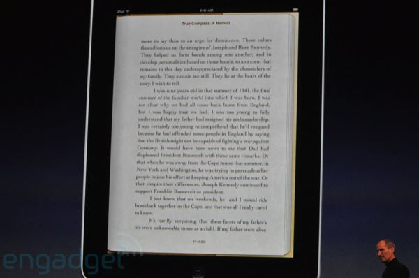 iBooks app on the iPad, page view