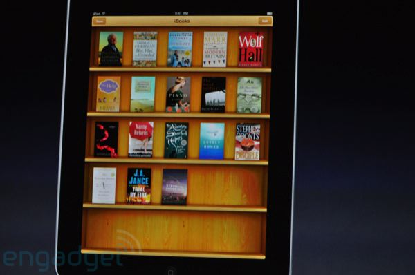 iBooks app on the iPad, bookshelf view