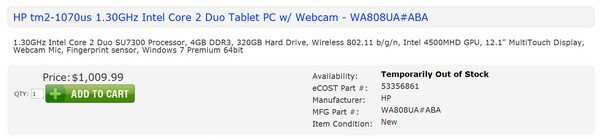 HP TM2-1070US tablet details leaked, is temporarily out of stock