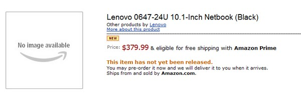 Lenovo's S10-3 hits Amazon for pre-order
