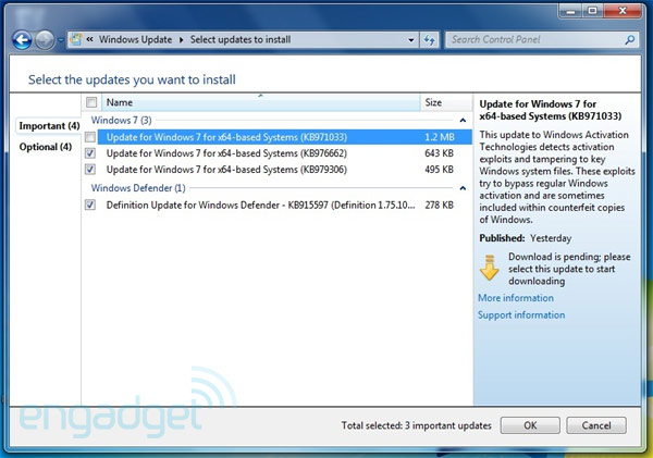 Windows 7 Activation Technologies Update now live, ready to be dodged