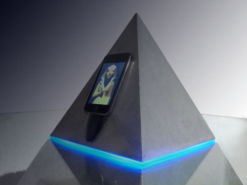 Pyramid-shaped coffee table is an iPod dock, object of shame