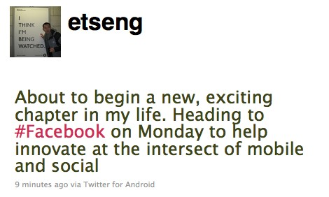 Erick Tseng Leaves Google for Facebook