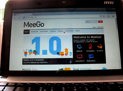 MeeGo 1.0 Demoed on MSI Netbook