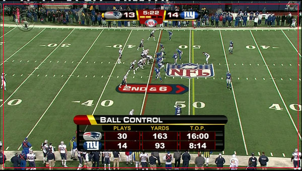 An NFL Network football with an example of overscan.