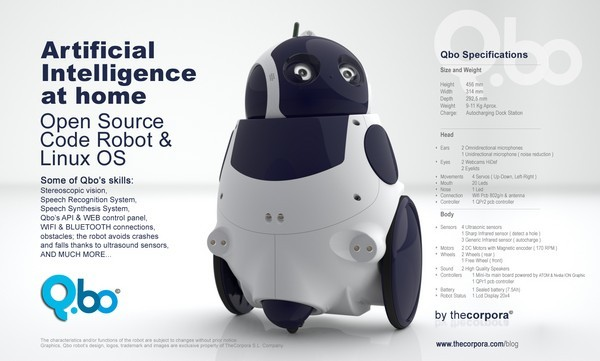 Qbo, the Linux-powered, open source robot, gets detailed