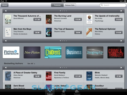 UK's iBookstore gets some premium content, contrary to earlier statements