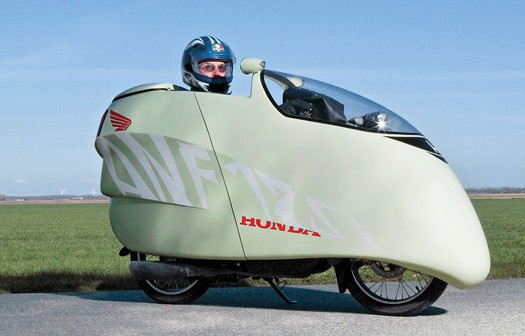 125cc Honda motorcycle + DIY fiberglass fairing = 214mpg, supercool looks