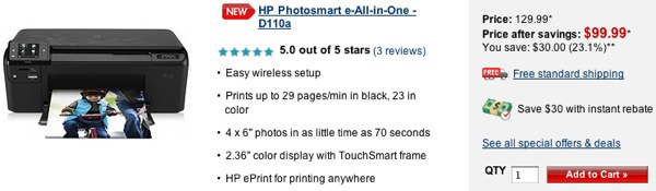 hp photosmart d110a 5 stars eprint HP Photosmart D110a ePrint printer earns 5 star reviews despite lacking ePrint... what?