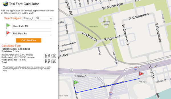 bing maps 39 taxi fare calculator keeps your lollygagging. Black Bedroom Furniture Sets. Home Design Ideas