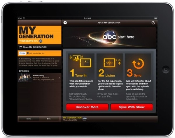 9 18 10 mygeneration600 ABC app eavesdrops on your TV to synchronize interactive content using Nielsen tech (video)