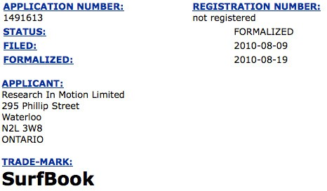 RIM Files SurfBook Trademark in Canada