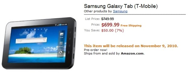 T-Mobile Galaxy Tab Pre-order on Amazon