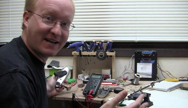 Hand-crank flashlight + microUSB cable + soldering + Ben Heck = man-powered HTC EVO 4G charger