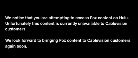 No Fox Hulu notice