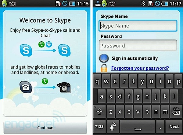 Skype, disponible en Android