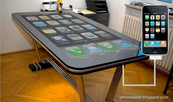 58 inch Table Connect For IPhone Multitouch Surface Easily