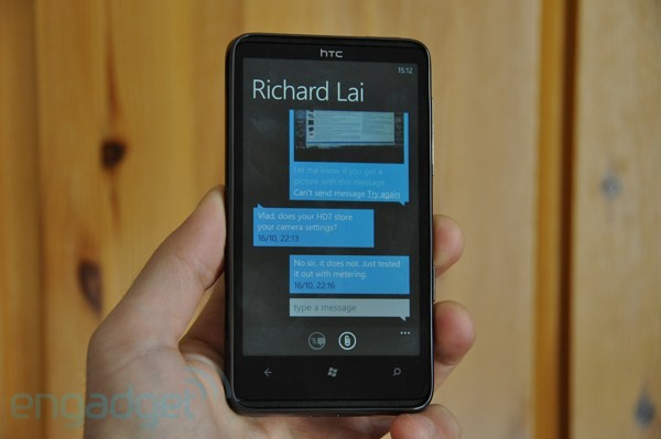 Windows Phone 7 SMS - with comic speech bubbles.