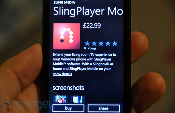 SlingPlayer arrives in Windows Phone 7 Marketplace