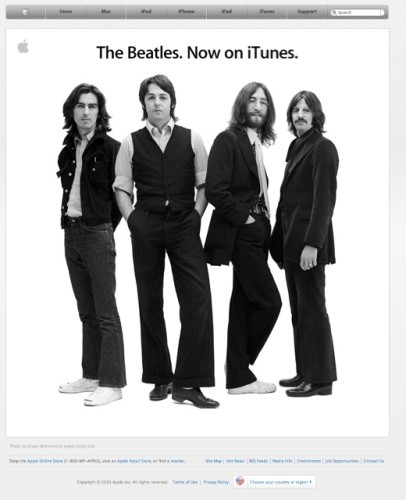 The Beatles show up in iTunes
