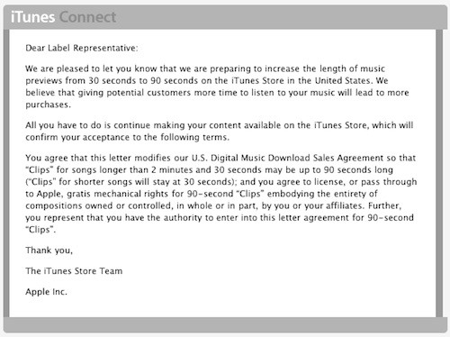 Apple informs labels that iTunes song previews will be 90 seconds long, hopes they don't mind?