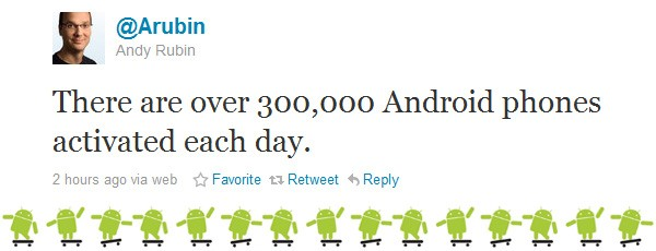 Andy Rubin: over 300,000 Android phones activated daily